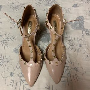 Halogen Shoes - 'Olson' Pointy Toe Studded T-Strap Flat HALOGEN®